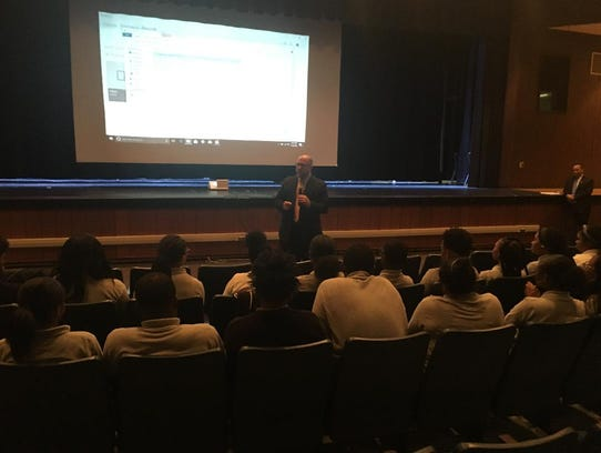 """New Jersey Attorney General Christopher S. Porrino speaks to Willingboro High students on Wednesday about the """"Safe Stop"""" initiative, aimed at making traffic stops safer."""