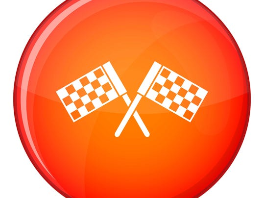 Crossed chequered flags icon, flat style