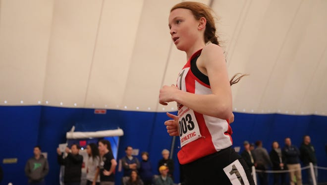 Monica Hebner runs in the 4-x-400 meters for Northern Highlands at the New Jersey State Meet of Champions in Toms River. Sunday, Feb. 26, 2017.