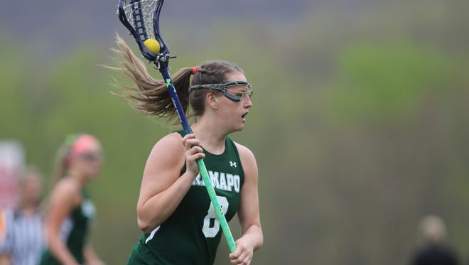 Dani Van Calcar of Ramapo controls the ball against Lakeland.  Ramapo went on to win the game, in Wanaque, 18-8.  Monday, April 24, 2017