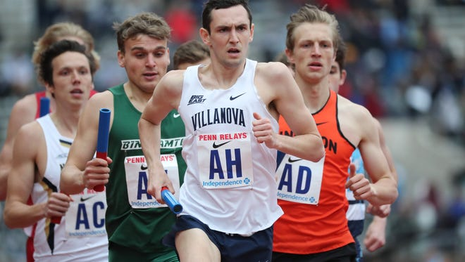 Ben Malone, of Villanova (and a graduate of Pascack Valley High School), runs the first leg of the distance medley.  Malone ran the 1200 meter leg in 2:58.34 and Villanova got first place with a time of 9:34.37. Friday, April 27, 2018