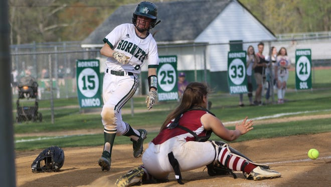 Taylor Hill scores the winning run for Passaic Valley. The Hornets beat Pompton Lakes, 2-1 in Little Falls. Thursday, May 3, 2018