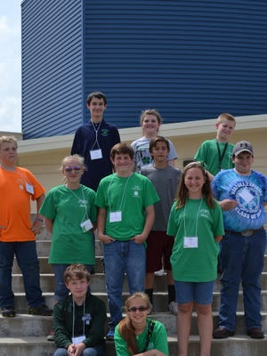 Baxter County 4-H'ers who recently competed at the Ozark District 4-H O'Rama at Greenbrier are, first row, from left, Joseph May, Food Fair Junior, sixth place, and Erika Cramer, Gun Safety, BB Gun Marksmanship Senior, eighth place, second row, William Knox, Abby Cramer and Tyler Smith, Performing Arts, Instrumental Junior, fourth place; Kevin Cramer, Gun Safety, BB Gun Marksmanship Junior, participation; Caitlyn King, Entomology Talk Junior, fourth place, and Tyler Schaufler, Baitcasting & Game Fish ID Junior, participation, third row, Chase Blum and Mackenzie Dunavan, Performing Arts, Instrumental Junior, fourth place, and Hunter Blum, Environmental Stewardship Junior, first place. Also participating but not available for the photo was Zach Martin, Performing Arts, Vocal Senior.