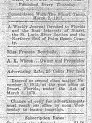 The listing of information about the Stuart Messenger