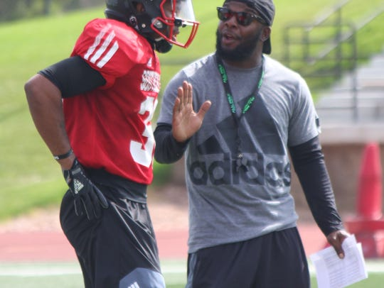SUU DC Rod Chance at practice Friday, Aug. 4.