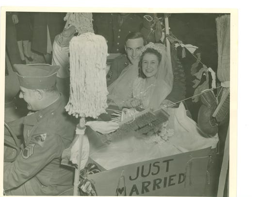 An unidentified bride and groom at Camp Polk. It was not uncommon for couples to get married before the husband deployed.