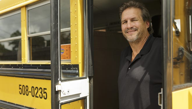 Jim Wright, director of transportation for the Horry County (S.C.) School District,  photographed in one of the buses that will have a new message and music system when students return to class Thursday.