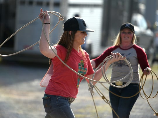 Rodeo contestants practice roping before the Tennessee High School Rodeo at the Williamson County Ag Expo Park in Franklin on Saturday, April 8, 2017.