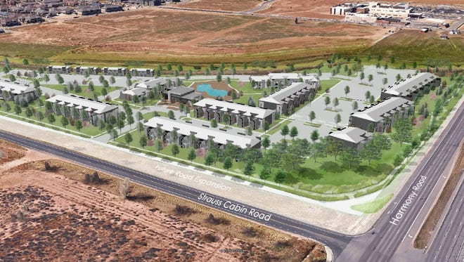 The proposed layout of Harmony 23, 368 apartments at the southwest corner of Harmony Road and Strauss Cabin Road, just west of I-25. Developer JD Padilla will break ground on the apartments June 13.