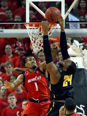 Wichita State center Shaquille Morris goes up for a