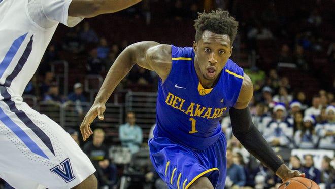 Delaware's Kory Holden drives to the basket in the second half of Delaware's 78-47 loss to Villanova in December, 2015.