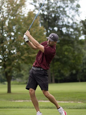 Jake Sottos hits a drive from the 6th tee during final round play in the Monmouth All-City Golf Tournament on Sunday, at Gibson Woods.