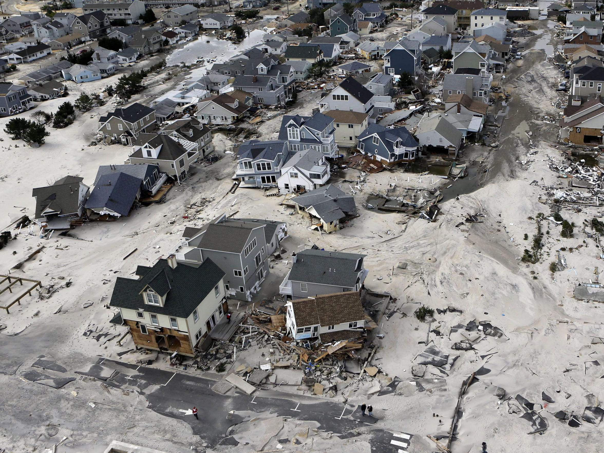 An Oct. 31, 2012, aerial photo shows destroyed and
