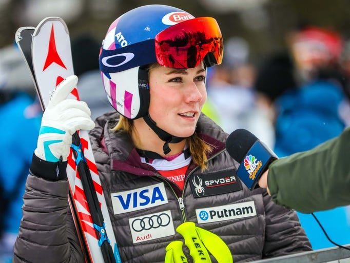 Mikaela Shiffrin of the United States is interviewed
