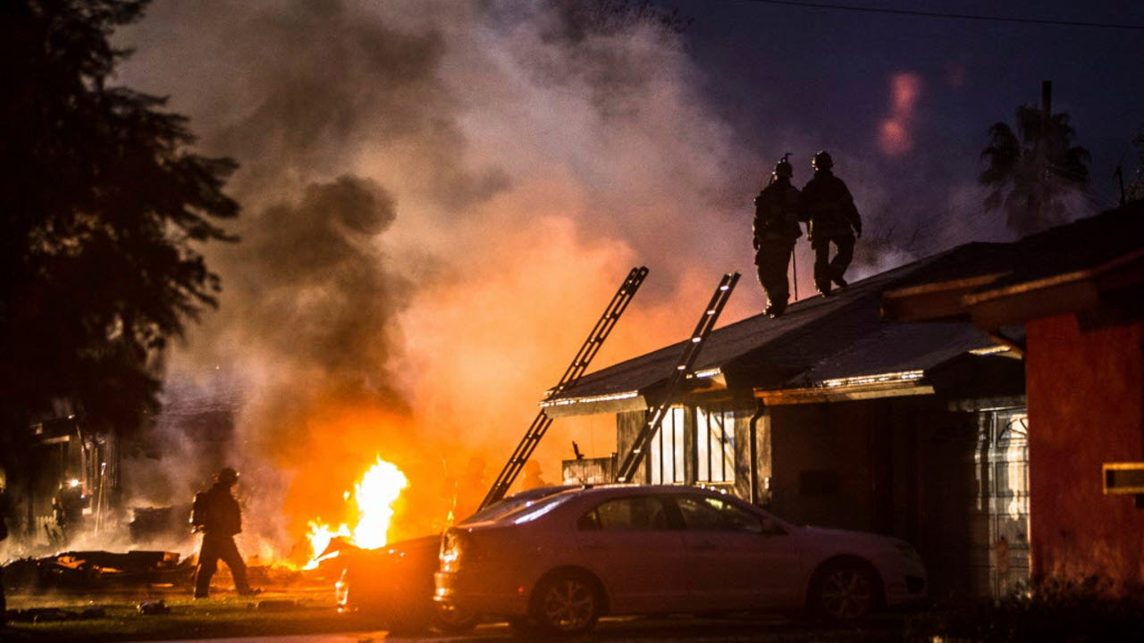 Authorities now say three people died and two were injured after a small plane carrying them crashed into homes in Southern California. Riverside Fire Chief Michael Moore said Monday night that there were no injuries from the homes. (Feb. 28)