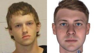 Ryan Derek Riggs, 21, left, and a composite profile of the suspect in the Brown County homicide of Rhonda Chantay Blankinship, released Wednesday, Nov. 8, 2017.
