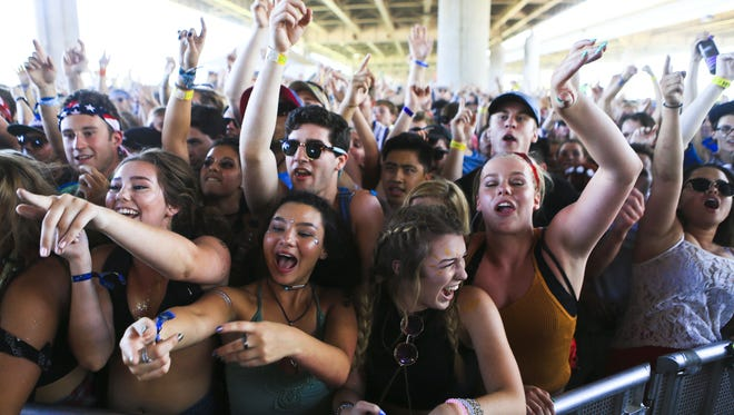 matt stone/Courier-journalThe crowd bounces to the beats and lyrics of hip-hop artist Danny Brown at Forecastle Festival 2016.The crowd was seemed to jackhammer up and down nonstop during the Danny Brown set at Forecastle Festival Saturday afternoon.