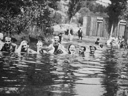 The Bowers Mansion pool in 1912.