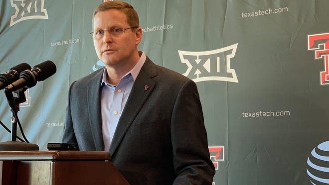 """Texas Tech on Monday eliminated 40 positions in the athletics department and reduced the pay of 198 of its employees. Tech athletics director Kirby Hocutt called it  """"an extremely difficult and challenging day for Texas Tech athletics."""""""