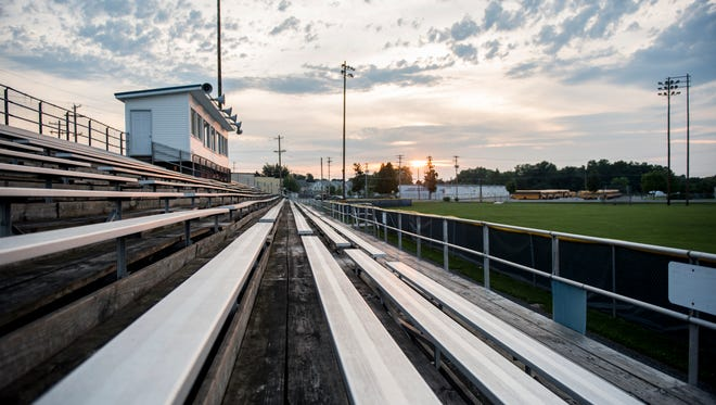 Littlestown Senior High School is currently in the planning stage for building a new football stadium. The new stadium will have a turf field, which will be used for all home football and soccer games and as many field hockey games as possible starting in fall of 2018. The school's current stadium, Memorial Field, pictured here, has existed since 1948, according to littlestownpa.info.