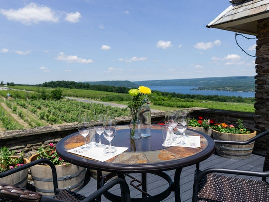 Dr. Konstantin Frank Winery offers a tasting experience on a rooftop terrace.