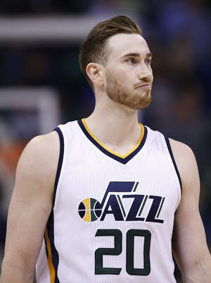 Utah Jazz forward Gordon Hayward (20) reacts after missing a basket in the final seconds of the game against the Sacramento Kings at Vivint Smart Home Arena.
