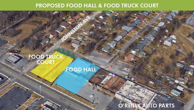 A rendering showing where a recommended food hall and food truck court could go on Kearney Street. The city has been at work on redevelopment plans for more than a year and announced new economic-development resources for Kearney Street and other parts of town on Wednesday, May 9, 2018.