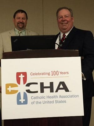 Holy Family Memorial and Felician Village's joint health care collaboration gained national recognition at the 2015 Catholic Health Association's annual meeting in Washington D.C. earlier this month as HFM president and CEO Mark Herzog, left, and Felician Village president and CEO Frank Soltys, right, spoke about the continuum of health care model that has changed the way health care is delivered between the two facilities.