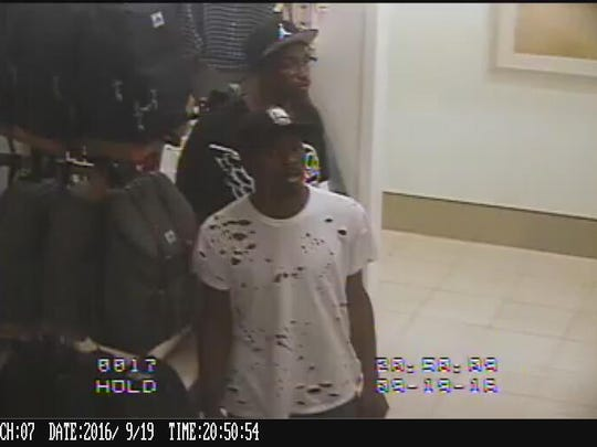 These two theft suspects caught shoplifting on a Macy's camera were chased and shot at by a man who says they stole his wallet Sept. 19, 2016.