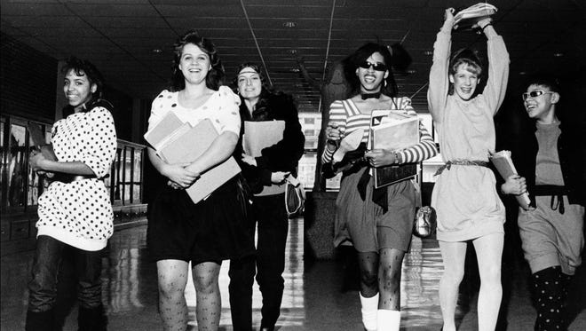 """January 25, 1983 - Central High students (from left) Marla Harris, Kim Turner, Sema Stagner, Paula Rush, Lori Maynard and Mona Engram are shown during """"theme week"""" on Jan. 25, 1983. That day's theme was """"punk rockers."""""""
