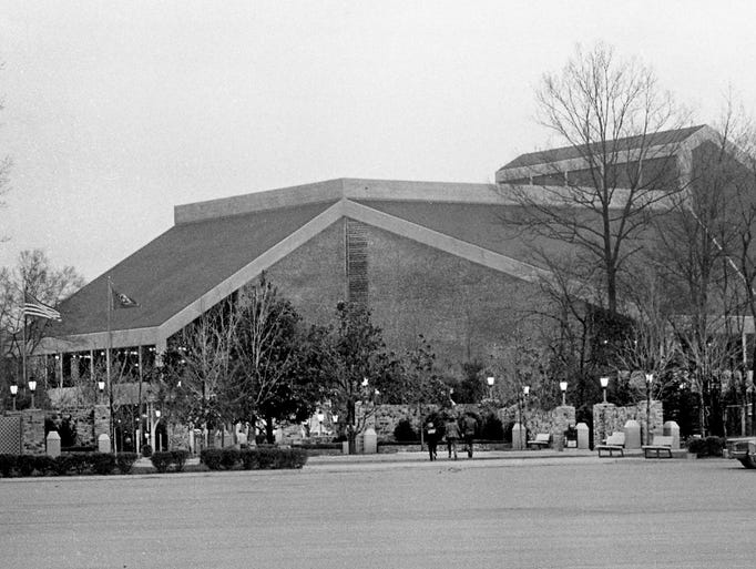 The sparkling new Grand Ole Opry House sits at Opryland March 12, 1974 as it waits for his grand opening March 16th. The $12 million new home of country music will seat 4,400.