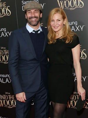 Jon Hamm and Jennifer Westfeldt attend the world premiere of 'Into the Woods' at Ziegfeld Theater on Dec. 8, 2014, in New York.