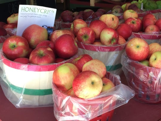 Morgan's Farm Market in Marion displays Honeycrisp apples for sale in this 2015 file photo.