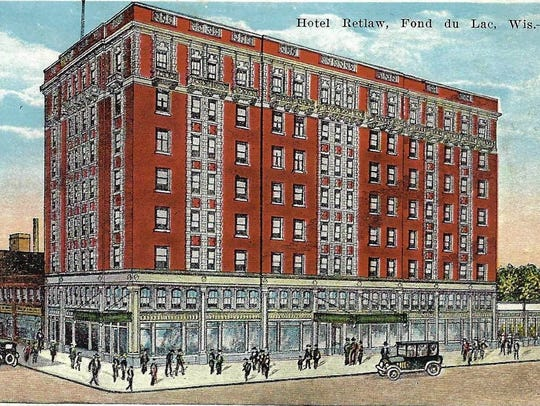 This 1920s' image shows the Retlaw Hotel as it appeared when first built.