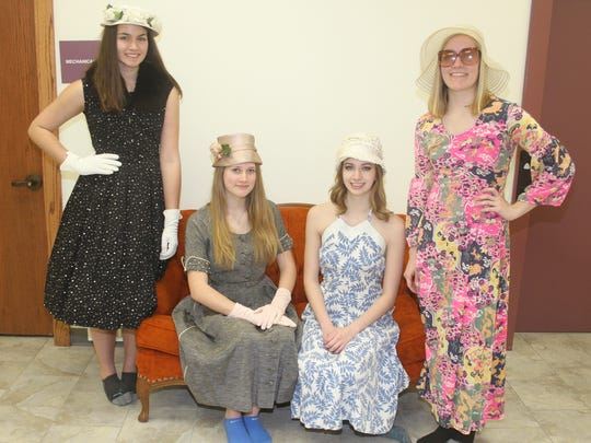 Fashions from the 1950s and 1960s are on display here,