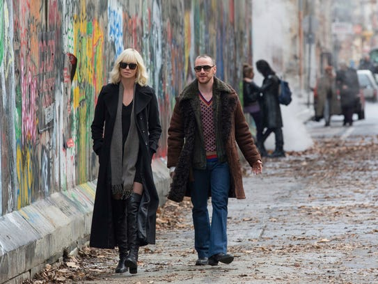 Charlize Theron and James McAvoy appear in a scene