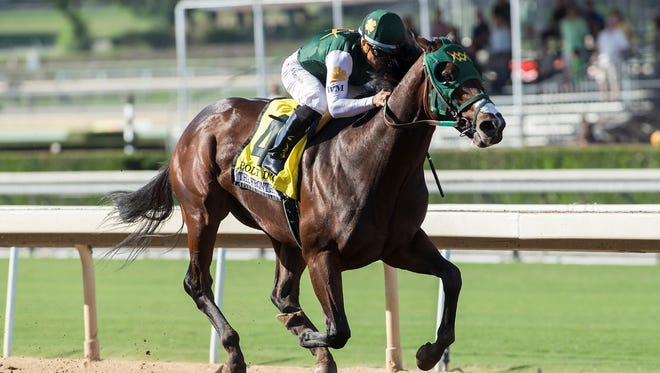 Bolt d'Oro wins the FrontRunner Stakes at Santa Anita on Sept. 30.