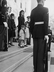 First lady Jacqueline Kennedy stands at the White House