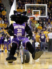 The University of Northern Iowa's mascots, TC and TK, race tricycles at during halftime.
