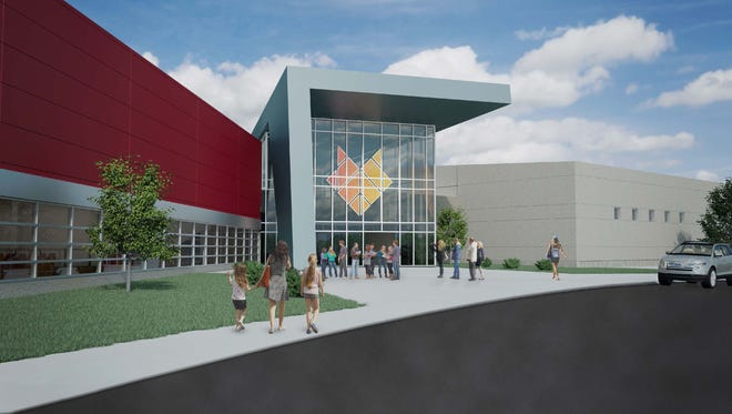 This architectural drawing shows the spectator entrance to the planned Fox Cities Champion Center in Grand Chute.