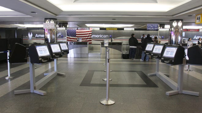 The American Airlines check-in counter at LaGuardia Airport.