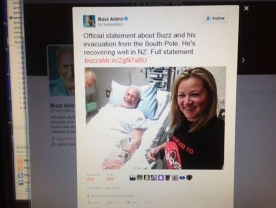 A tweet on Buzz Aldrin's Twitter account shows he is