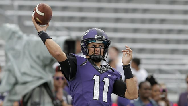 TCU transfer Zach Allen (11) has a chance to be the starting quarterback for Rutgers this season.