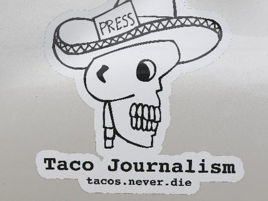 """A decal on the """"Chevy Taco Truck"""" of Mando Rayo at"""