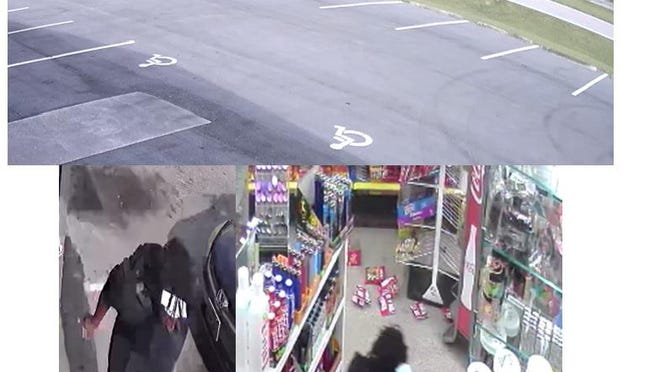Surveillance video stills of the attempted robberies.
