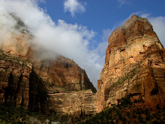 Angels Landing towers nearly 1,500 feet above Zion