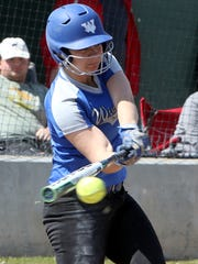 Windthorst's Tatum Veitenheimer hits a double against