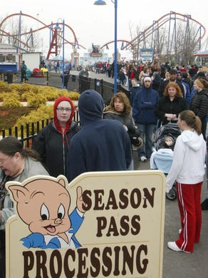 2005: Season passholders line up for their picture ID at the start of the 2005 season at Six Flags Great Adventure.