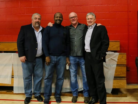 Left to right, Tom Morris, founder of B.A.D. and president of HVCC; Tony Clark, pastor of Calvary Chapel, Newport News, Virginia; Bobby Hargraves, pastor of Calvary Chapel, Hudson Valley; and William O'Neil, Dutchess County Deputy County Executive are shown during the Dec. 18 event.