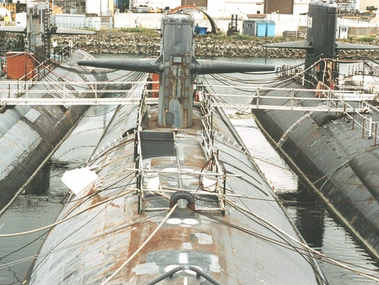 The nuclear powered submarine USS Phoenix sits in storage